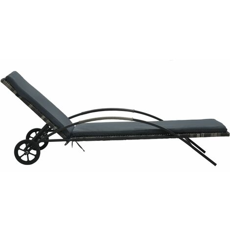 Chaise longue avec coussin et roues Résine tressée Anthracite