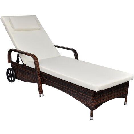 Chaise longue avec coussin et roues Résine tressée Marron