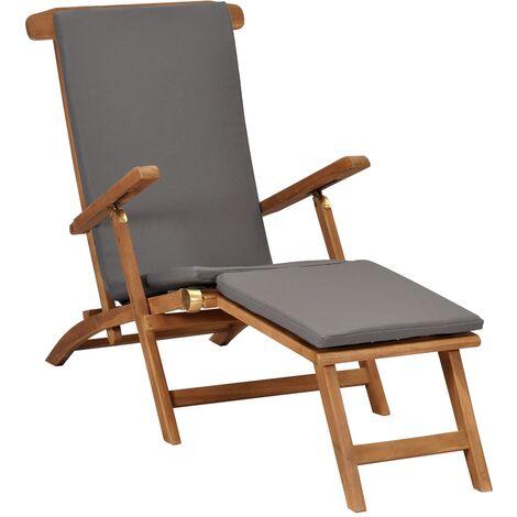 Chaise longue avec coussin Gris foncé Bois de teck solide