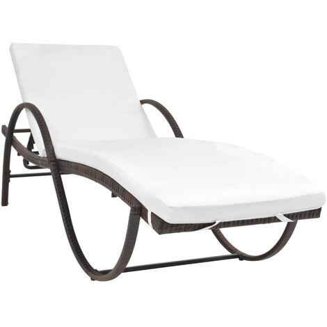 Chaise longue avec coussin Résine tressée Marron