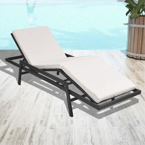 Chaise longue avec coussin Résine tressée Noir