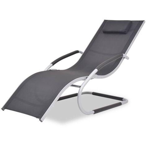 Chaise longue avec oreiller Aluminium et textilène Noir 43652