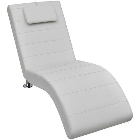 Chaise longue avec oreiller Blanc Similicuir
