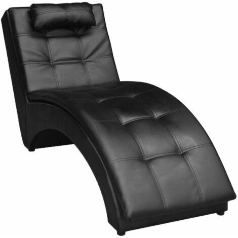 Chaise longue avec oreiller Noir Similicuir