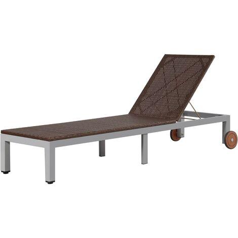 Chaise longue avec roues Resine tressee Marron
