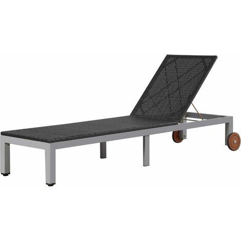 Chaise longue avec roues Résine tressée Noir