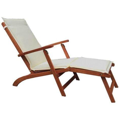 Chaise longue avec structure en bois | Ecru