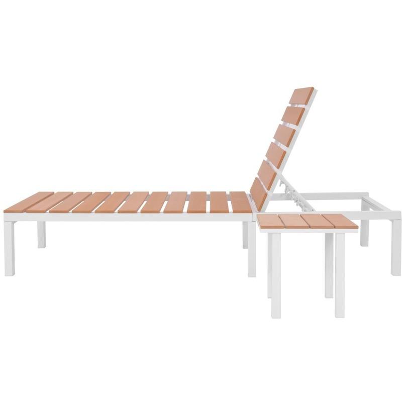 Et Wpc Chaise Table Avec Blanc Marron Aluminium Longue Mj42869 0Nwm8vn