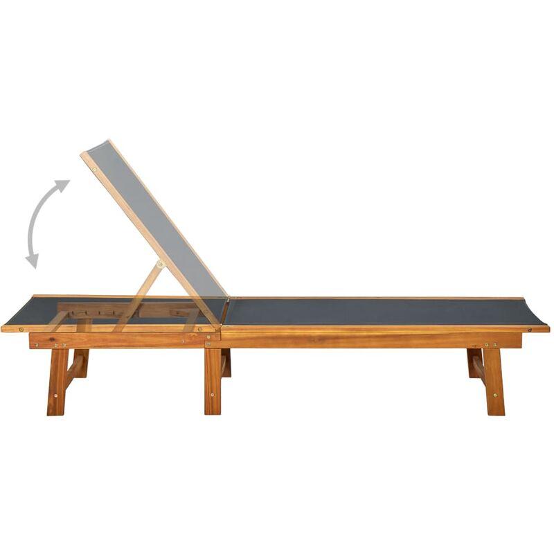 D'acacia Table Chaise Avec Solide Bois Textilène Longue Et W9H2EIeYD