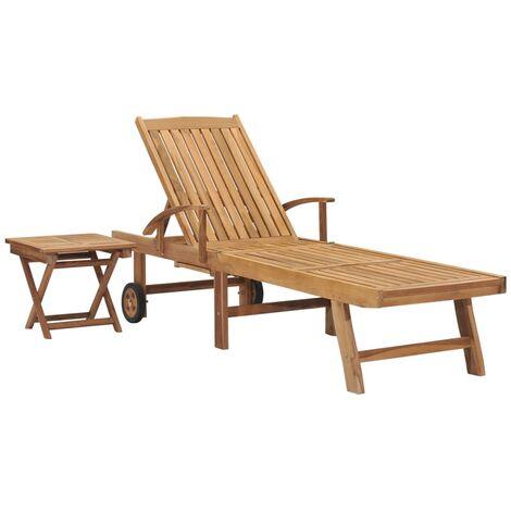Chaise longue avec table Bois de teck solide