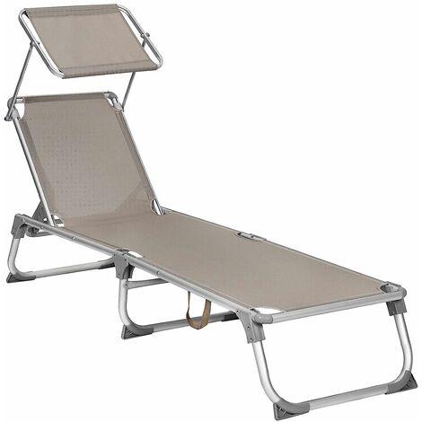 Chaise Longue Bain De Soleil Transat De Relaxation Avec Dossiers Et Parasol Inclinables Pliable Leger 55 X 193 X 31 Cm Charge 150 Kg Pour Jardin Couleur Taupe Gcb19br