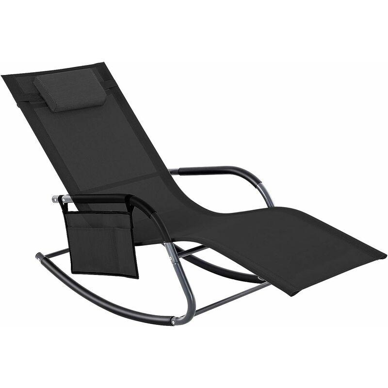 Fauteuil à bascule, rocking chair, transat, Chaise longue, Bain de soleil, avec appui-tête et poche latérale, cadre en fer, tissu respirant,