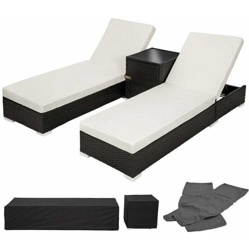 Lot de deux chaises longue bain de soleil en résine tressé poly rotin noir + table + deux set de housses + housse de protection - Noir
