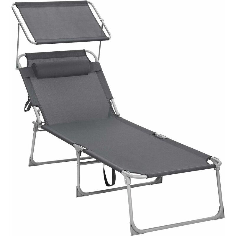 Chaise Longue, Bain de Soleil, Transat de Relaxation, Chaise de jardin pliable, Chaise de jardinGrand modèle, 71 x 200 x 38 cm, Charge 150 kg, avec