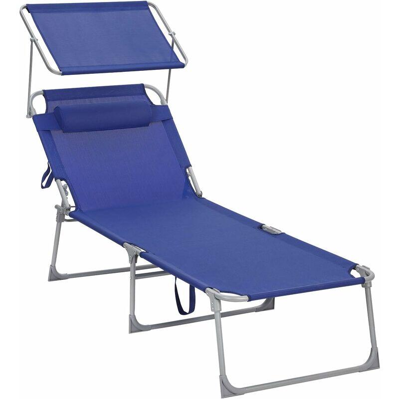 Chaise Longue, Bain de Soleil, Transat de Relaxation, Chaise de jardin pliable, Grand modèle, 71 x 200 x 38 cm, Charge 150 kg, avec Appui-tête,