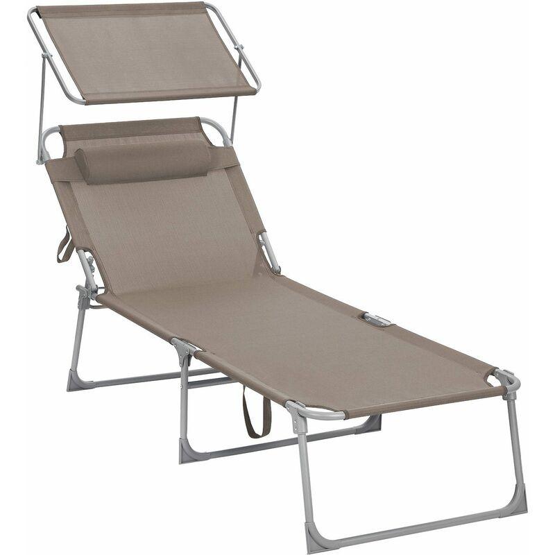 Chaise longue, Bain de soleil, Transat, grand modèle, 71 x 200 x 38 cm, charge 150 kg, appui-tête, dossier et parasol inclinables, pliable, pour