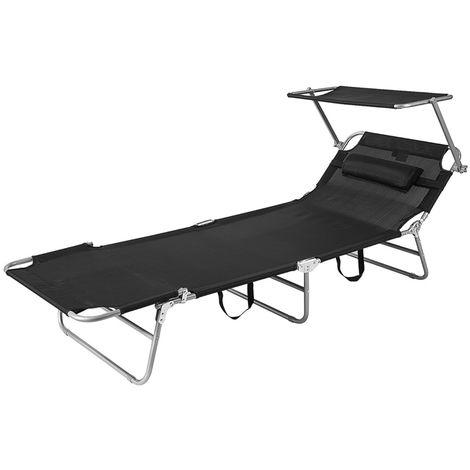 Chaise Longue Bain de Soleil Transat de Relaxation Pliant Chaise de Camping Inclinable, Pliable et Réglable avec Pare Soleil,SoBuy OGS48-MI