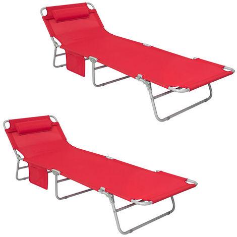 Chaise Longue Bain de soleil,Jardin,Camping inclinable,OGS35-MI