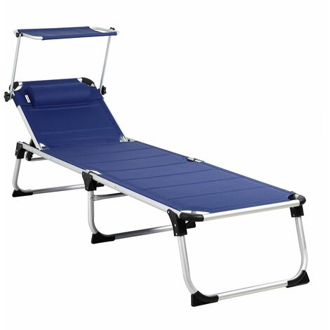 """main image of """"Chaise longue """"Bari"""" XXL de aluminio tumbona con protección solar 210cm cojín de cabeza silla larga exterior jardín"""""""