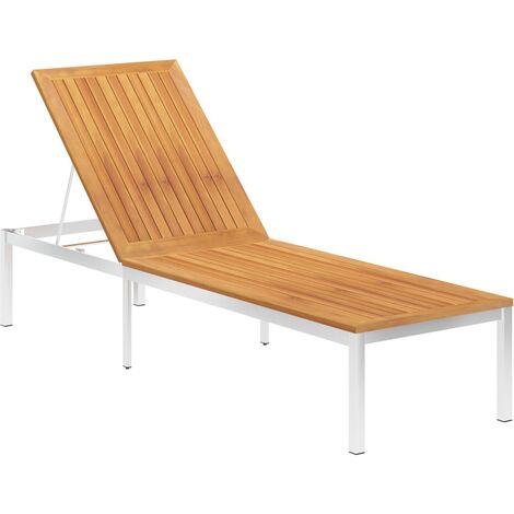 Chaise longue Bois d'acacia solide et acier inoxydable