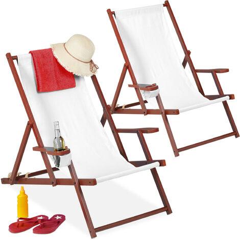 Chaise longue bois et tissu, lot de 2, pliante, 3 positions, accoudoirs, porte-boissons, transat, blanc