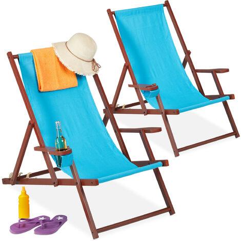 Chaise longue bois et tissu, lot de 2, pliante, 3 positions, accoudoirs, porte-boissons, transat, bleu clair