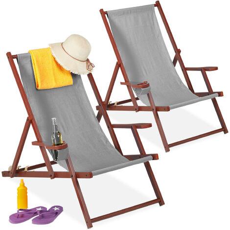 Chaise longue bois et tissu, lot de 2, pliante, 3 positions, accoudoirs, porte-boissons, transat, gris