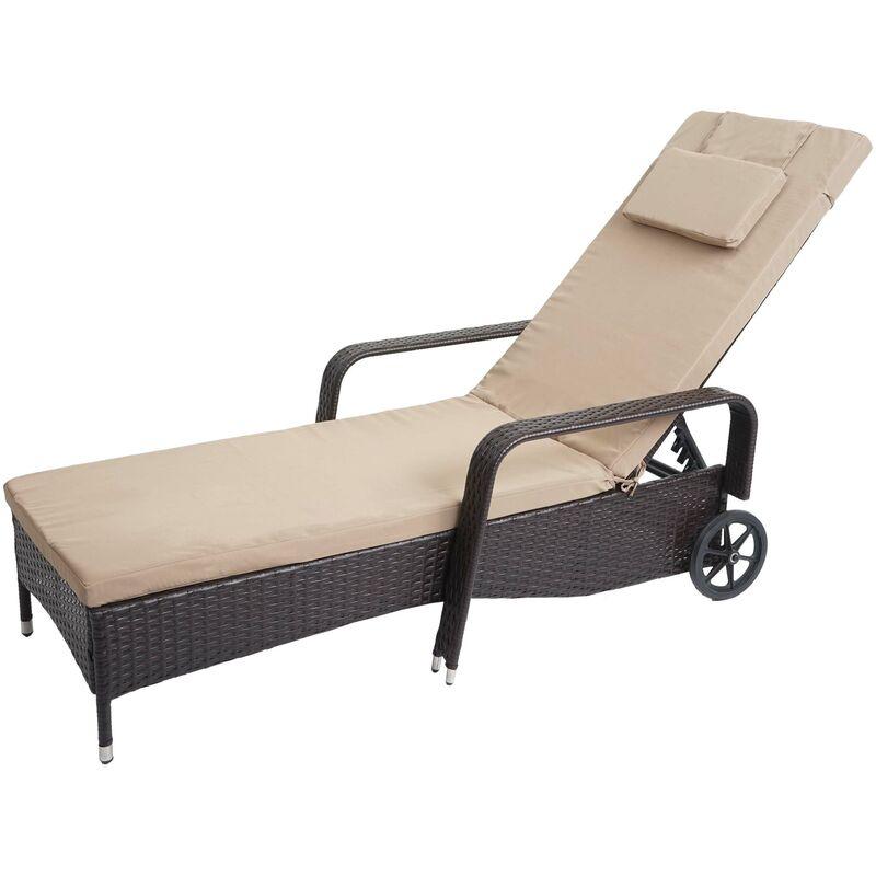 Chaise longue Carrara, polyrotin, bain de soleil, couchette, alu ~ anthracite, coussin beige
