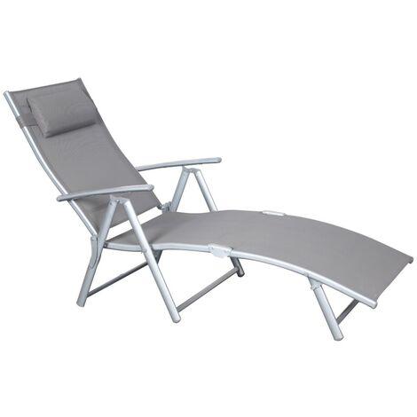 Chaise longue CHARME GRIS Dossier réglable Structure Aluminium Bain de soleil Jardin Piscine Plage