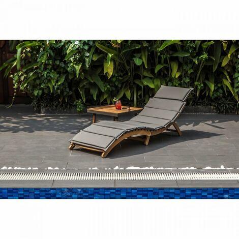"""main image of """"Chaise longue courbée pliable en bois d'acacia KOS - Matelas gris anthracite"""""""