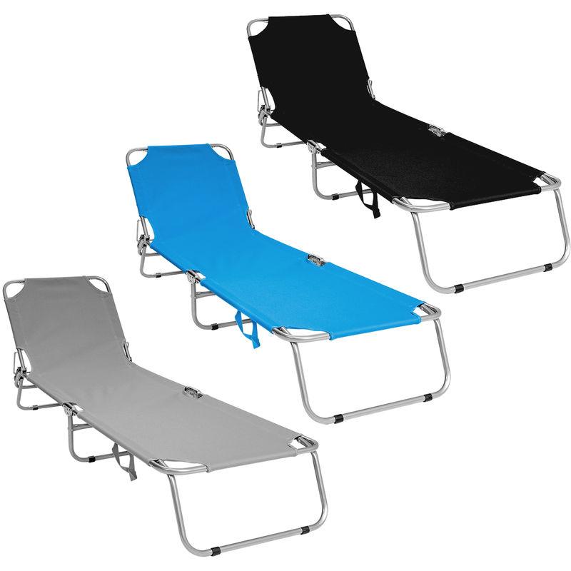 Chaise longue de camping pliable Charles Lit de jardin inclinable - Gris