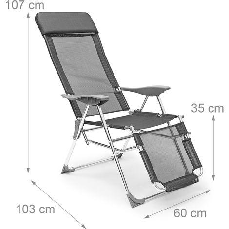 Chaise Longue De Camping Pliante Pliable Transat Bain Soleil Gris 2013018