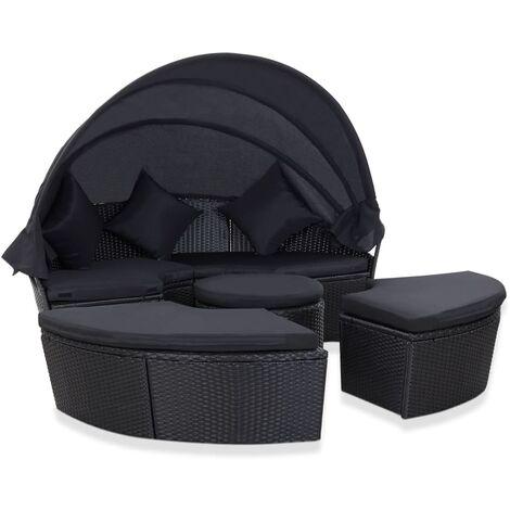 Chaise longue de jardin avec auvent Résine tressée Noir