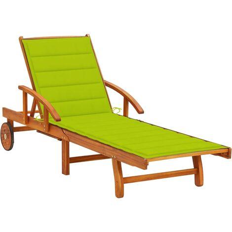 Chaise longue de jardin avec coussin Bois d'acacia solide4653-A