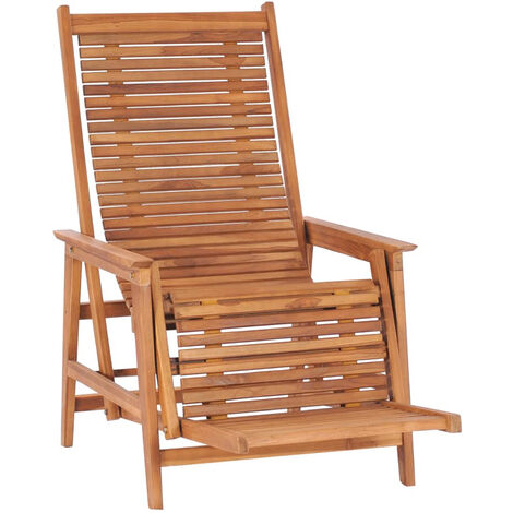 Chaise longue de jardin avec repose-pied Bois de teck solide