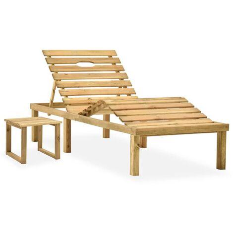 Chaise longue de jardin avec table Bois de pin imprégné