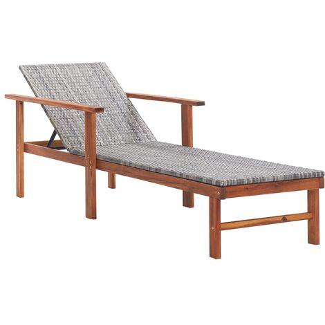 Chaise longue de jardin Bain de soleil avec Accoudoir Résine tressée et bois d'acacia massif Gris
