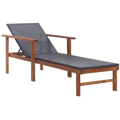 Chaise longue de jardin Bain de soleil avec Accoudoir Résine tressée et bois d'acacia massif Noir