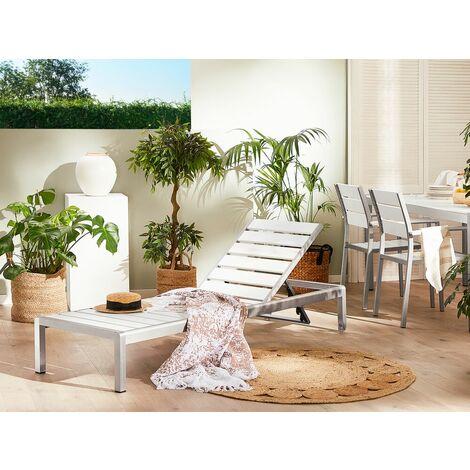 Chaise longue de jardin blanche et argentée avec dossier réglable