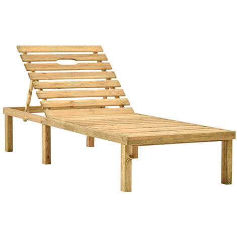 Chaise longue de jardin Bois de pin impregne