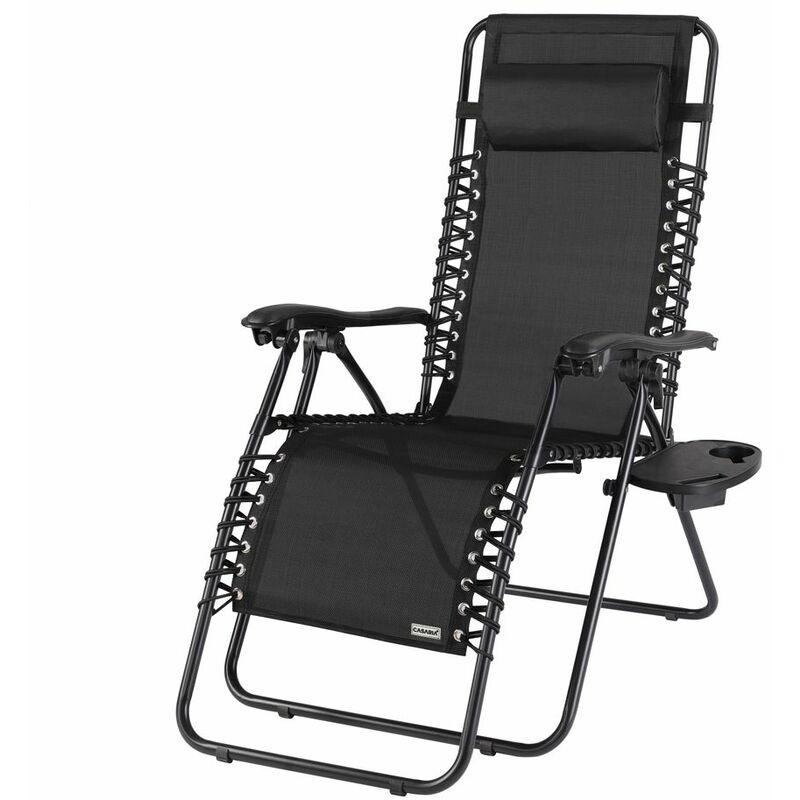 Chaise longue luxueuse avec haut dossier réglable jardin terrasse relaxation Noir