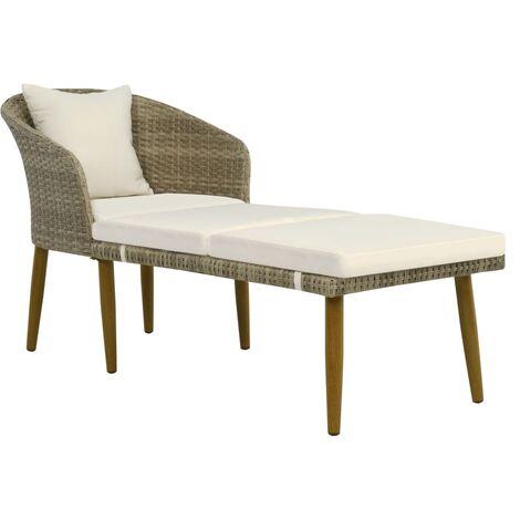Chaise longue de jardin Gris/beige Résine tressée