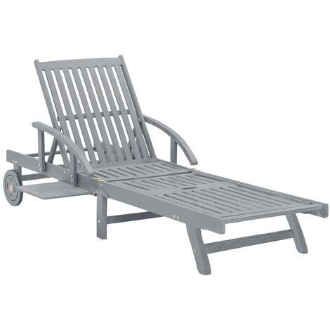 Chaise longue de jardin Gris Bois d'acacia solide