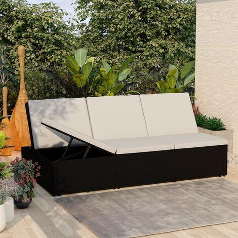 Chaise longue de jardin Lit d'extérieur Bain de soleil convertible avec coussin Résine tressée Blanc