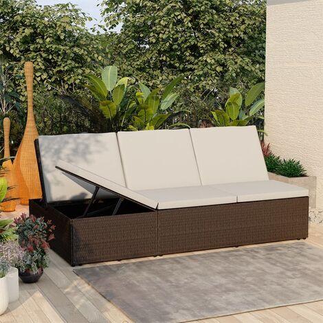 Chaise longue de jardin Lit d'extérieur Bain de soleil convertible avec coussin Résine tressée Marron