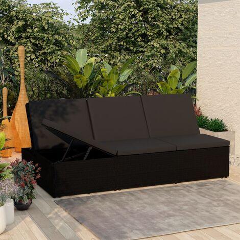 Chaise longue de jardin Lit d'extérieur Bain de soleil convertible avec coussin Résine tressée Noir