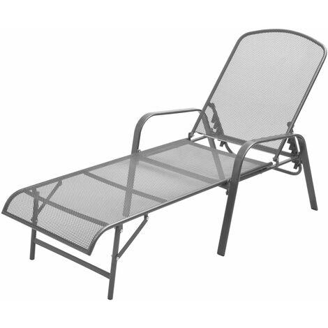 Chaise longue de jardin Meuble d'extérieur Bain de soleil Acier Anthracite
