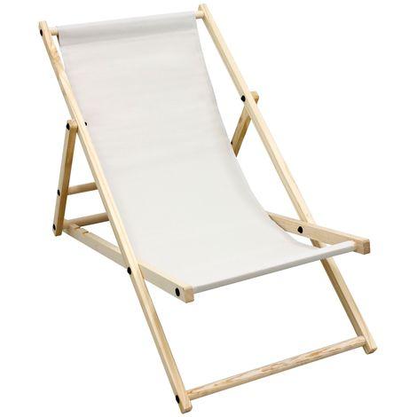 Chaise longue de jardin pliante bois bain de soleil plage chilienne beige 120 kg