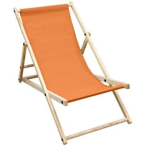 Chaise longue de jardin pliante bois bain de soleil plage chilienne orange 120kg