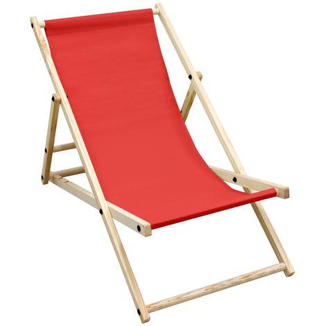 Chaise longue de jardin pliante bois bain de soleil plage chilienne rouge 120 kg